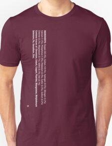 ingredients: (white version) LARGE PRINT Unisex T-Shirt