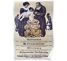 Milliarden VII Kriegsanleihe millionen Kriegsanleihe Versicherung 1558 Poster