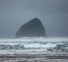 Stormy Seas at Haystack Rock by Jess Meacham