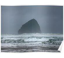 Stormy Seas at Haystack Rock Poster