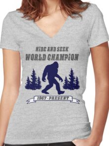 Hide and Seek World Champion Bigfoot Women's Fitted V-Neck T-Shirt
