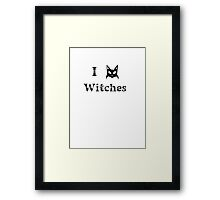 i love witches black cat magic witchcraft pagan Framed Print