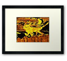 Smiling happy cat walks on the fence Framed Print