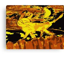Smiling happy cat walks on the fence Canvas Print