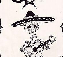 dia de los muertos vintage mariachi with guitar by mojittto