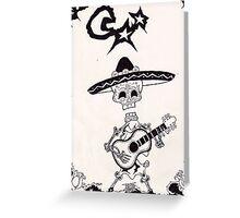 dia de los muertos vintage mariachi with guitar Greeting Card