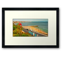 Estoril beach. Hotel cascais Miragem. Framed Print