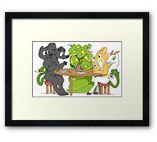 Cerberus Hydra and Chimera playing poker Framed Print