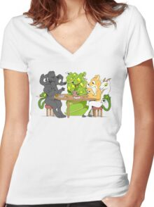 Cerberus Hydra and Chimera playing poker Women's Fitted V-Neck T-Shirt
