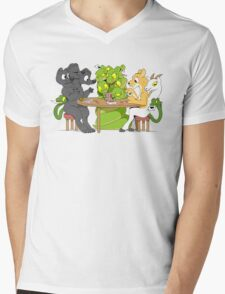 Cerberus Hydra and Chimera playing poker Mens V-Neck T-Shirt