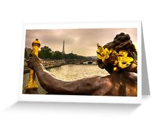 Back view of the angel from the Ponte Alexandre in Paris Greeting Card
