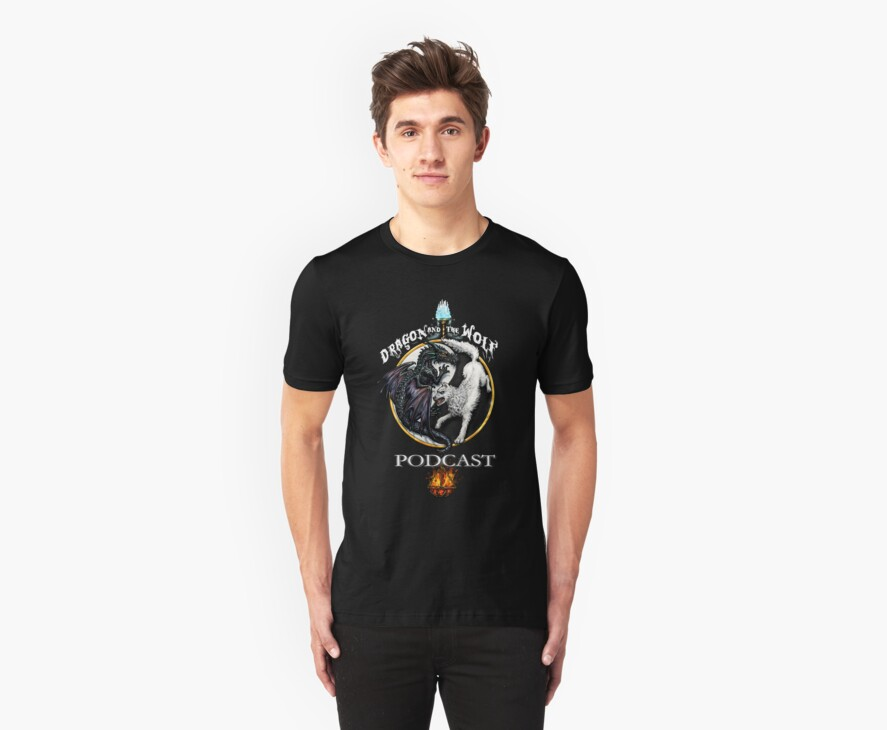 Dragon and the wolf WHITE LOGO shirt by wayne smale