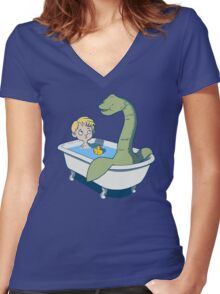 There's something in my bath!! Women's Fitted V-Neck T-Shirt
