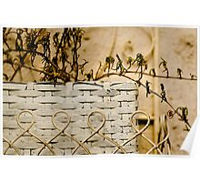 Basket with dried out flowers Poster