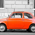 Orange FIAT 500 in Rome, Italy by wildrain