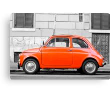 Orange FIAT 500 in Rome, Italy Canvas Print