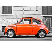 Orange FIAT 500 in Rome, Italy Photographic Print