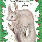 Christmas Squirrel Drawing by John Symonette