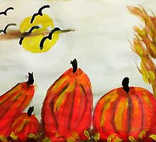 Pumpkin Patch, watercolor by Anna  Lewis