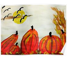 Pumpkin Patch, watercolor Poster