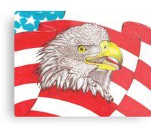 American Flag Eagle Drawing Metal Print
