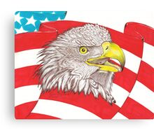 American Flag Eagle Drawing Canvas Print