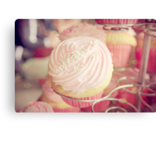 Pink Ribbon Day Cup Cake Canvas Print