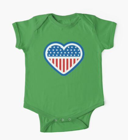 American Patriot Heart One Piece - Short Sleeve