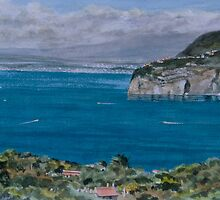 Storm approaching, The Bay of Naples, Italy by Freda Surgenor