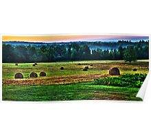 Sunrise on Hay-field Hdr Poster