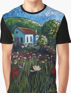 Poppy Field Cottage Graphic T-Shirt