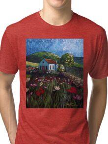 Poppy Field Cottage Tri-blend T-Shirt