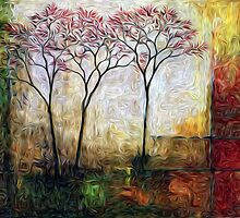Twin Trees Oil Painting #2 by Fred Seghetti