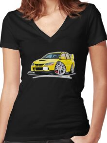 Mitsubishi Evo IX Yellow Women's Fitted V-Neck T-Shirt