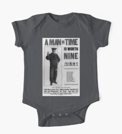 A man in time is worth nine 002 One Piece - Short Sleeve