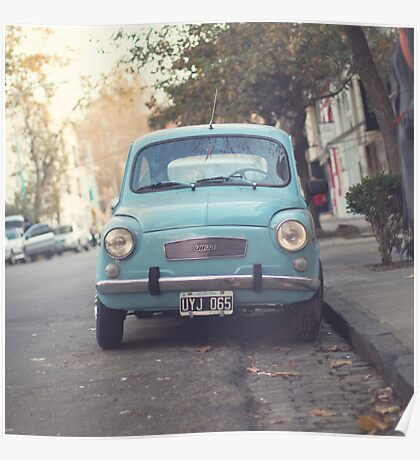 Mint - Blue Retro Fiat Car  Poster