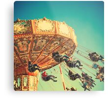 Vintage Chain Swing Ride on Blues Sky Metal Print