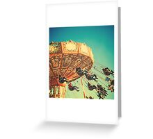 Vintage Chain Swing Ride on Blues Sky Greeting Card