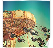 Vintage Chain Swing Ride on Blues Sky Poster