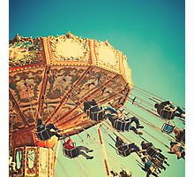 Vintage Chain Swing Ride on Blues Sky Photographic Print