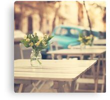 I'm gonna miss you a lot (Retro Pastel Coffee Shop in the Streets) Canvas Print