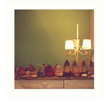 Dancing Shoes and Heels (retro and vintage girly shoes and heels with a lovely lamp) Art Print
