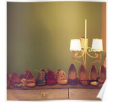 Dancing Shoes and Heels (retro and vintage girly shoes and heels with a lovely lamp) Poster