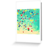 Let your wishes fly (Colour balloons in vintage - retro turquoise sky) Greeting Card