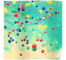 Let your wishes fly (Colour balloons in vintage - retro turquoise sky) Poster