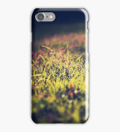 Little violet flowers on the meadow (Vintage and Retro nature Photography) iPhone Case/Skin