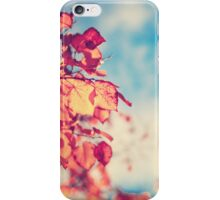 My Secret Garden (Vintage pink autumn leafs and blue sky) iPhone Case/Skin