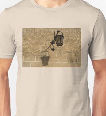 Of Lights and Shadows - Medieval Looking Streetlamp in Mdina, the Ancient Capital of Malta Unisex T-Shirt