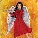 Angel girl playing flute by didielicious