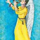Angel boy blowing bugle by didielicious